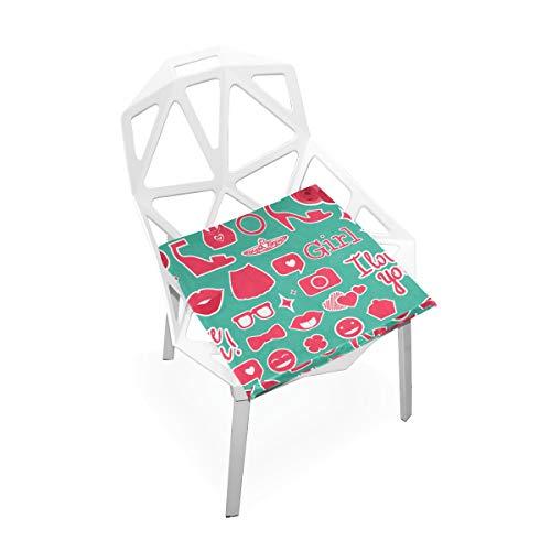Weibliche Dame Lovely Cosmetic Icon Benutzerdefinierte Weiche rutschfeste quadratische Memory Foam Chair Pads Kissen Sitz für Hauptküche Esszimmer Büro Rollstuhl Schreibtisch Holzmöbel 16 X 16 Zoll