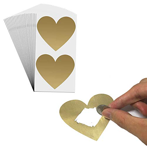 50 Stück, 75mm Herz Rubbel Etiketten Rubbellose Aufkleber, Scratch Sticker - Gold