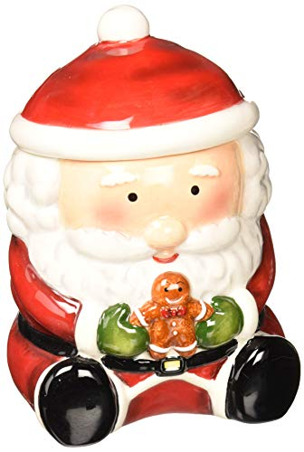 Cosmos Gifts Santa with Gingberbread Man Cookie Jar, 7-1/8-Inch