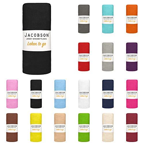 Jacobson Laken to GO Spannbettlaken Jersey Bettlaken Spannbetttuch 90x200 cm - 100x200 cm (Schwarz)