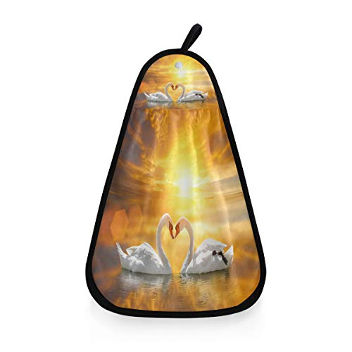CPYang - Toalla de cocina para colgar, diseño de cisne de animales, para baño de San Valentín, absorbente, toalla seca a mano con lazo para colgar