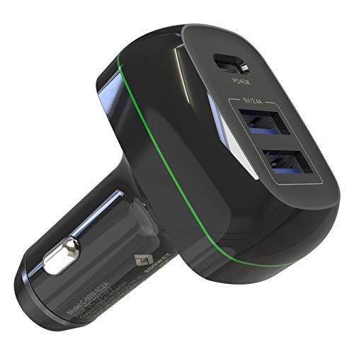 EGOWAY - Caricabatteria da auto USB C, 60 W, 3 porte, tipo C, con porta PD da 45 W e 2 porte USB A, compatibile con MacBook Pro/Air 2018, iPad Pro, iPhone Xs/Max/XR/X/8 S10/S9 e altri
