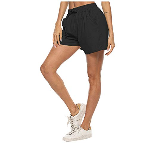 Bylater Women's Loose Elastic Waist Drawstring Summer Casual Yoga Lounge Shorts Athletic Shorts(M.Black-1)