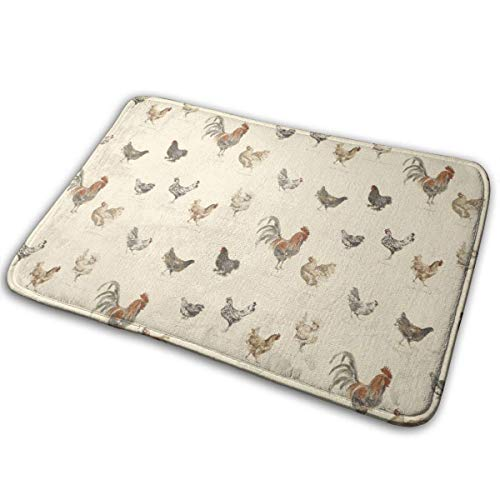 AOOEDM Art Chicken Animal Painting Memory Foam Bath Mat Non Slip Ultra Absorbent Bathroom Rug Carpet, 15.7' X 23.5'