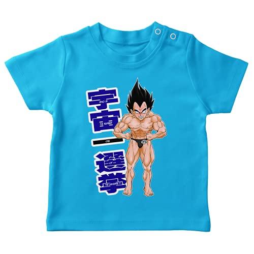 OKIWOKI Dragon Ball Z - DBZ Lustiges Türkis Baby T-Shirt - Vegeta (Dragon Ball Z - DBZ Parodie signiert Hochwertiges T-shirt in Größe 24 monate - Ref : 354)