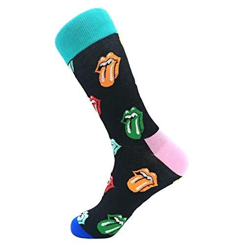 LILONGXI Funny Sokken, Outdoor Mode Atletische Breien Sokken Baby Blauw Tong Patroon Printing Sokken Ademende Antibacteriële Ms, Herfst Winter Warm Katoen Sokken (3st)