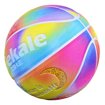 Adekale Personalized Fluorescent Luminous Basketball Adult Indoor and Outdoor Moisture Absorption Anti-Skid Wear-Resistant Basketball-Rainbow 5 Ball