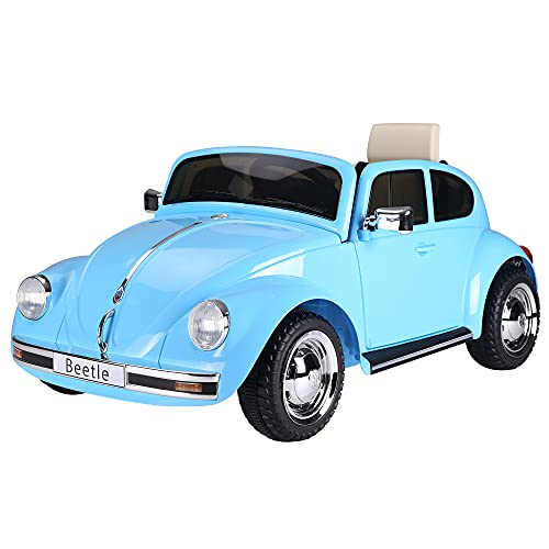 Aosom Licensed Volkswagen Beetle Electric Kids Ride-On Car 6V Battery Powered Toy with Remote Control Music Horn Lights MP3 for Old Blue