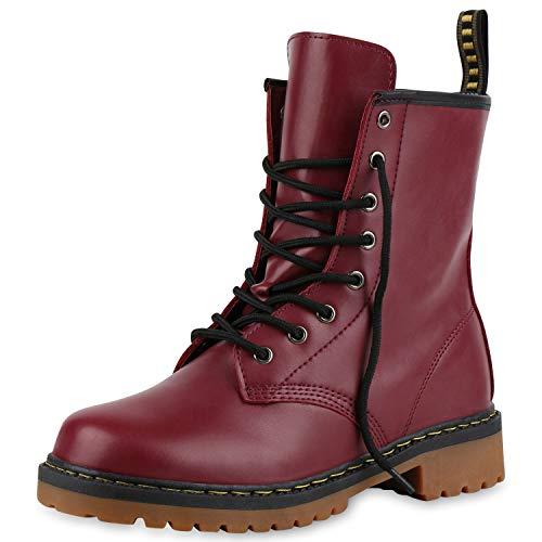 SCARPE VITA Geschnürte Damen Worker Boots Profilsohle Punker Stiefeletten 172581 Dunkelrot 41