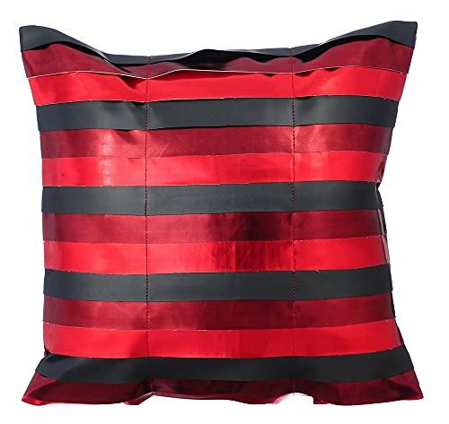 rouge enveloppe de coussin, 45x45 cm coussin décoratif pour canapé, Faux cuir coussin décoratif pour canapé, Cuir métallique Sparkly Bandes en cuir coussin décoratif pour canapé - OMG Its Red