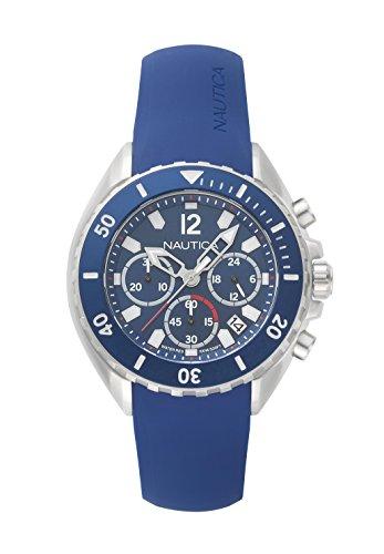 Nautica Herren Chronograph Quarz Uhr mit Silikon Armband NAPNWP001