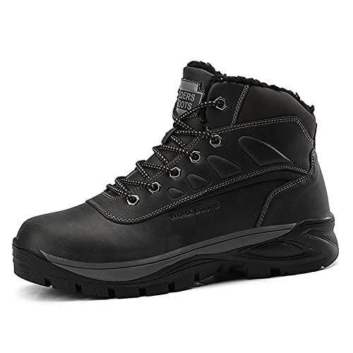 Botas De Nieve Hombre Antideslizante Invierno Botines Calientes Impermeables Zapatillas De Senderismo Zapatos Trekking,Negro,41 EU
