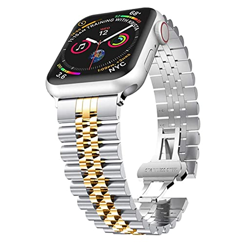 Para Apple Watch Band Series 5 6 Se 44mm 40 mm Pulsera de enlace de acero inoxidable para iWatch 3 Bands 40mm 38mm Strap Men Mujer