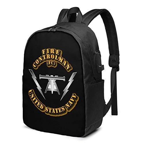 XCNGG Navy Rate Fire Controlman Business Laptop Schule Bookbag Reiserucksack mit USB-Ladeanschluss & Kopfhöreranschluss Fit 17 in