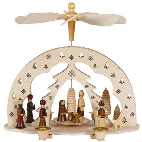 OBC Weihnachtspyramide/Krippe, Könige und Hirte Natur/Pyramide Weihnachten/im Erzgebirge Stil, handgefertigt/Deko zu Weihnachten
