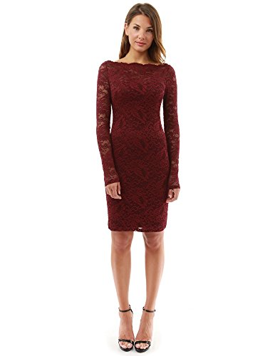 PattyBoutik Women Boatneck Sweetheart Floral Lace Dress (Burgundy Small)