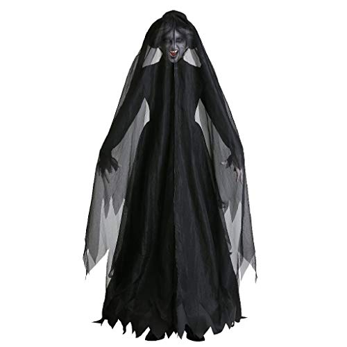 TcooLPE Traje de Bruja de Halloween Cosplay, Vestido de Bruja Bruja Bruja Discoteca Disfraz de Disfraces Modelo de Bruja Disfraz Disfraz Traje de Fantasma Negro (Size : L)