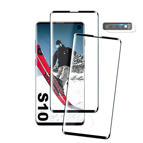 IHEX Galaxy S10 Film Protection Ecran Verre Trempé, [2 Pièces] [Compatible avec Lecteur d'Empreinte] [Case Friendly] [Ultra Claire] [Dureté 9H] Protection écran pour Samsung Galaxy S10