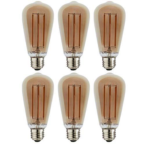 Sunlite 41078-SU Vintage Edison ST19 ST64 LED Filament Style Light Bulb 6 Watt (40w Equivalent), 450 Lumens, Amber Glass, Dimmable, 6 Pack, 22K - Warm White