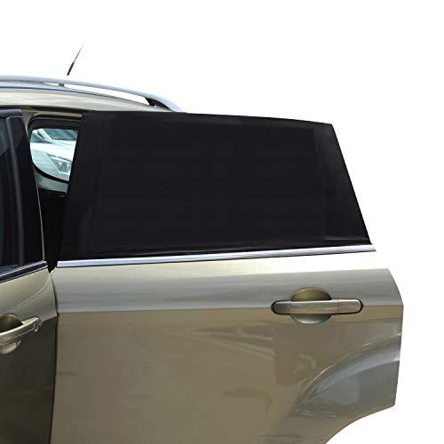 Parasole universale per finestrino auto, confezione da 2 pezzi, in rete traspirante per finestrini posteriori, protezione UV per bambini e animali domestici, zanzariera per la maggior parte delle auto