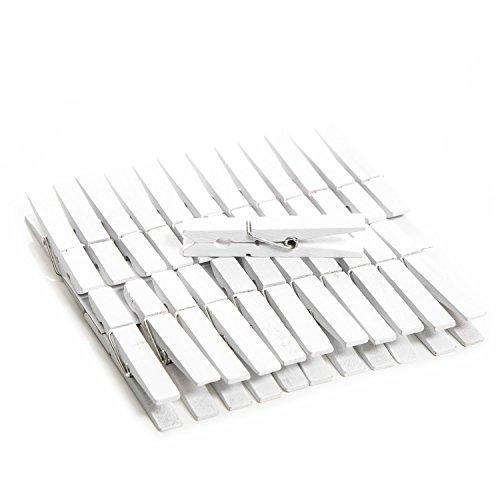 Logbuch-Verlag 24 weiße 7 cm Holzklammern Wäscheklammern Fotohalter Halterung Tischkarten Clip