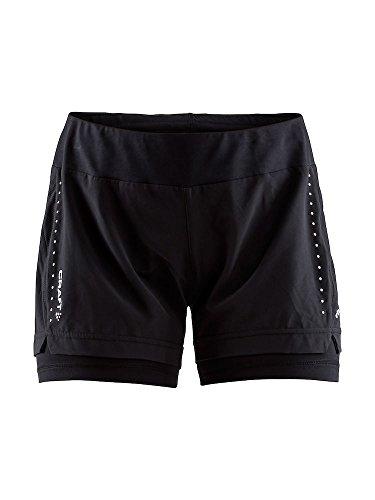 Craft Damen Essential 2-IN-1 Shorts W Laufshorts, Black, S