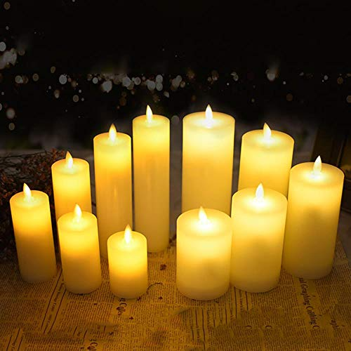 BTKNOO Bougie électrique à LED en cire avec flamme dansante pour mariage/Noël/Nouvel An, décoration de Noël pour hôtel, spa, bar, taille 53 x 150 mm