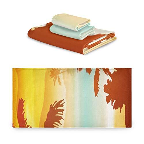 ZQLR Juego Suave de 3 Toallas Sea Sunset Island Palm Trees Eps10 Juegos de Toallas 1 Toallas de baño 1 Toalla de Mano 1 toallita para baño, Hotel, Gimnasio, SPA y Playa