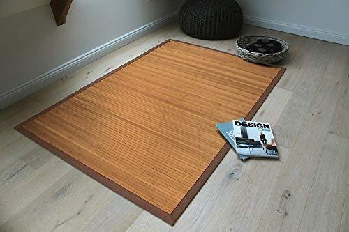DE-COmmerce Bambusteppich Gentle 160x230cm, 17mm Stege, breite Bordüre, massives Bambus | Bordürenteppich | Teppich | Bambusmatte | Wohnzimmer | Küche nachhaltig und ökologisch