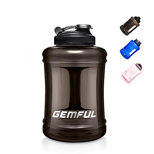 Botella de Agua Grande Deportiva sin BPA para Gimnasio al Aire Libre Camping 2.5 Litro (Negro.)