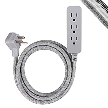 GE Pro 3-Outlet Surge Protector Power Strip 8 ft Designer Braided Extension Cord Flat Plug UL Listed Heather Gray 45916