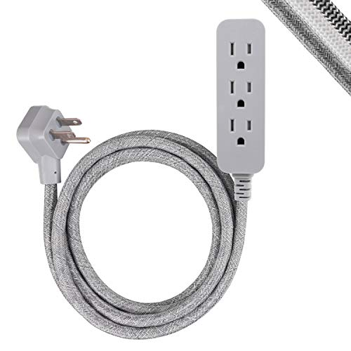GE Pro 3-Outlet Surge Protector Power Strip, 8 ft Designer Braided Extension Cord, Flat Plug, UL Listed, Heather Gray, 45916