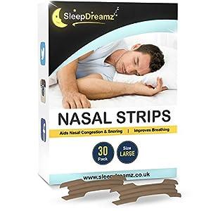 SleepDreamz tiras nasales grandes antironquidos - Diseñadas contra la congestión nasal, respiración pesada, ronquidos y apnea del sueño - 30 Tiras nasales antironquidos que dejan de roncar