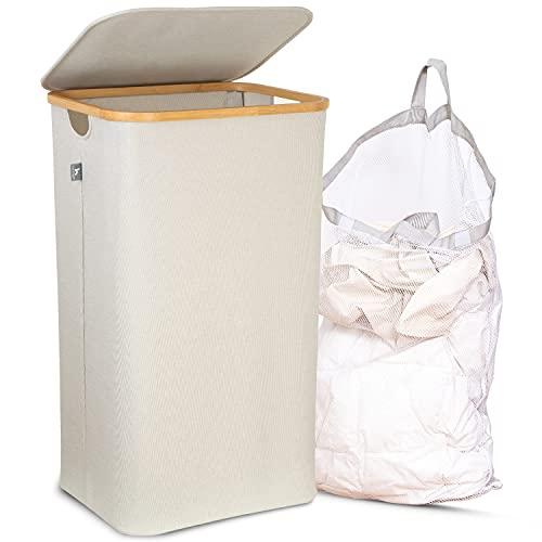 HENNEZ Wäschekorb mit Deckel HERAUSNEHMBARER WÄSCHESACK, Wäschekorb Bambus Wäschesammler Wäschesortierer Wäschetruhe Wäschebox Groß Wäschekorb faltbar Laundry Baskets 100L HELLGRAU