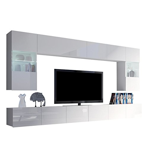 Moderne Wohnwand Calabrini I, Anbauwand, Mediawand, Hängevitrine, TV Lowboard, Wandregal, Wohnzimmerschrank, Fernsehschrank (mit weißer LED Beleuchtung, Weiß/Weiß Hochglanz)