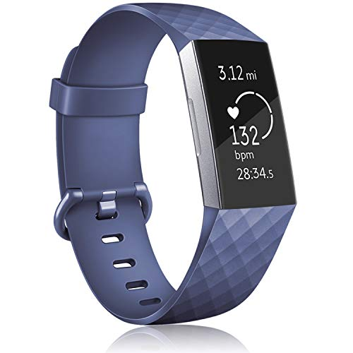 AK Cinturino per Fitbit Charge 3/ Fitbit Charge 4 Cinturino Edizione Speciale Cinturino da Polso Regolabile Sport di Braccialetto di Ricambio per Fitbit Charge 3/ Fitbit Charge 4 (03 Blu Navy, L)