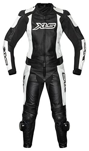XLS Lederkombi, Damen Zweiteiler, Schwarz Weiß, Echtleder, zweiteilige Motorradkombi für Damen (36)