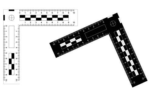 Tatort- und Foto Winkel Lineal aus Kunststoff (10 x 10 cm)