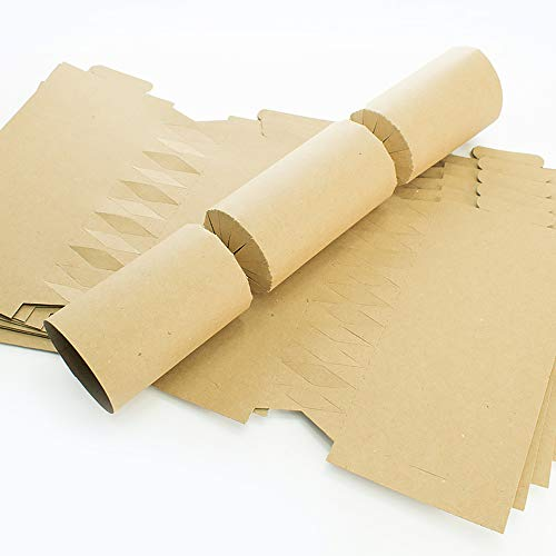 BESPOKE BY CRAFTY CAPERS 12 Jumbo Natural Brown Recycled Kraft Make & Fill Your Own Recyclable Crackers