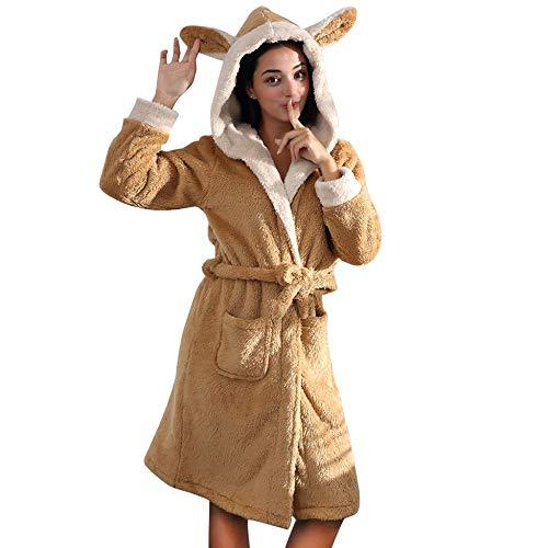 Damen Nachthemden Winter Bademäntel mit Kapuzen,Tonsee Warm Dick Bequeme Nachtwäsche Kaninchen Ohren Hut Langarm Pyjama Schlafhemd mit Gürtel und Taschen (L, Gelb)