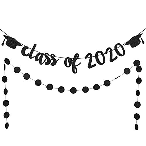 Black Glittery Class Of 2020 Banner and Black Glittery Circle Dots Garland- 2020 Graduation Party Decorations or Grad Party Decoration Supplies