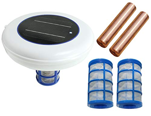 Solar swimming pool Ionizer purifier with LED (ON if unit works) - 2 anodes & 2 Threaded baskets (99% anode usage)