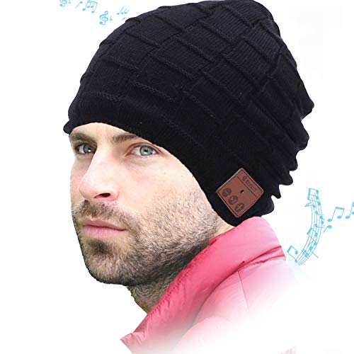 WONDAY Bluetooth Beanie Hat, Gifts for Men Women, Winter Knit Cap with Wireless Headphones Speakers for Outdoor Sports Black