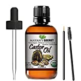 USDA Certified Organic Castor Oil Hexane-Free Castor Oil - Moisturizing & Healing, For Dry Skin, Hair Growth - For Skin, Hair Care, Eyelashes Huge 4 ounce - Caster Oil By Mayan's Secret