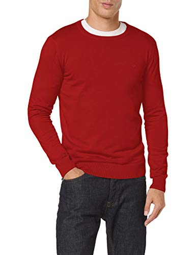 TOM TAILOR Herren Basic Crew-neck Pullover, 24249 - Spicy Red Melange, XL EU