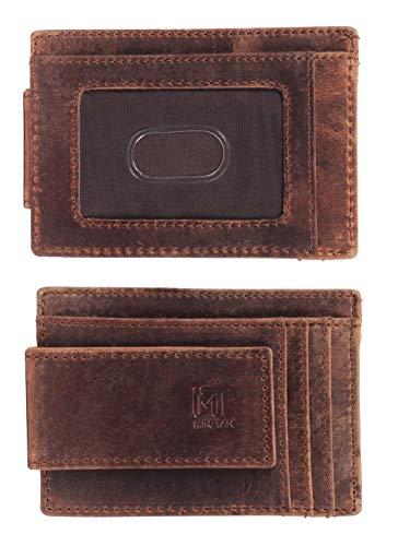 MIN-TAN Genuine Leather Magnetic Front Pocket Money Clip Wallet RFID Blocking (Light Brown)