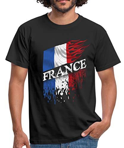 Drapeau De La France Enflammé T-Shirt Homme, XL, Noir