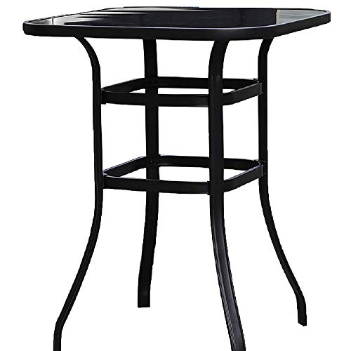 Emerit Bar Height Patio Table Bistro High Top Patio Table Outdoor Bar Table Metal Frame Tempered Glass Table High Top