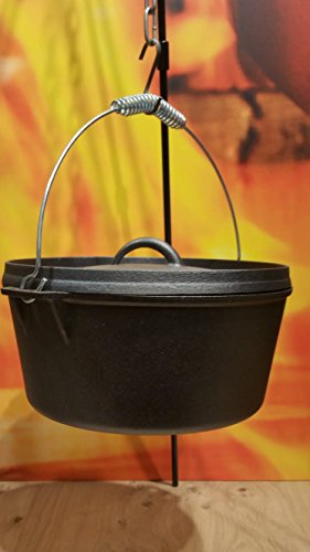 CAST IRON - Premium Quality - Dutch-Oven aus Gusseisen - mit Deckel und Aufhängung - Hier in der Ausführung : (Durchmesser 25 cm)