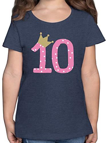 Geburtstag Kind - 10. Geburtstag Krone Mädchen Zehnter - 152 (12/13 Jahre) - Dunkelblau Meliert - Tshirt Kindergeburtstag 10 - F131K - Mädchen Kinder T-Shirt